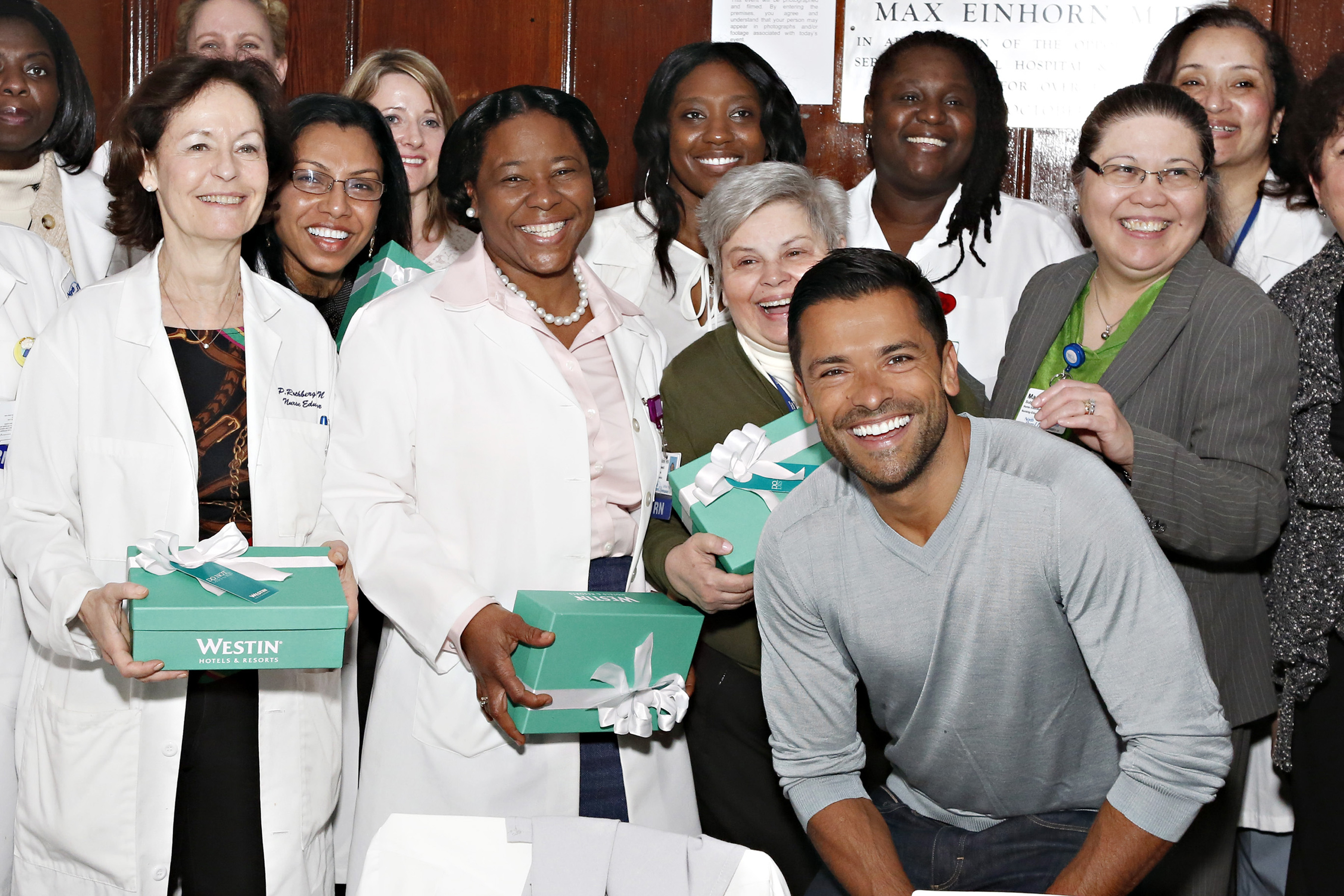 Mark Consuelos surprises hundreds of nurses at Lenox Hill Hospital with a Westin Weekend getaway to celebrate the launch of the brand's Make Monday Better campaign. (Photo: Business Wire)