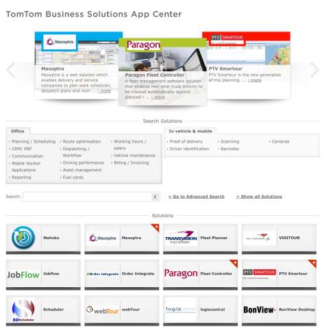 TomTom Business Solutions App Center (Graphic: Business Wire)