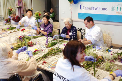 UnitedHealthcare's San Francisco Bay Area employees join On Lok participants to make flower arrangem ...