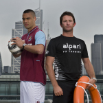 West Ham United first-team player Winston Reid and former world champion skipper Adam Minoprio (NZL) go head to head in a game-changing sports challenge in the City of London. (Photo: Business Wire)