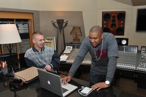 "Winner of the 2013 Money Matters Music Mogul contest Blake McGuire and multi-platinum producer Kevin ""KHAO"" Cates (Photo: Business Wire)"