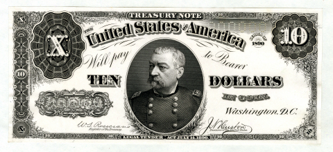 """U.S. Legal Tender Treasury Note Unique Presentation Proof, $10, Series of 1890, Fr.#366 Unlisted Proof. Washington, D.C. Unlisted, Unpublished in Hessler, Unique Proof from presentation album. Philip Henry Sheridan portrait in middle, Rosecrans   Huston signatures, """"000000"""" pin-punch numerals on lower left and upper right Serial Number locations. (Photo: Business Wire)"""