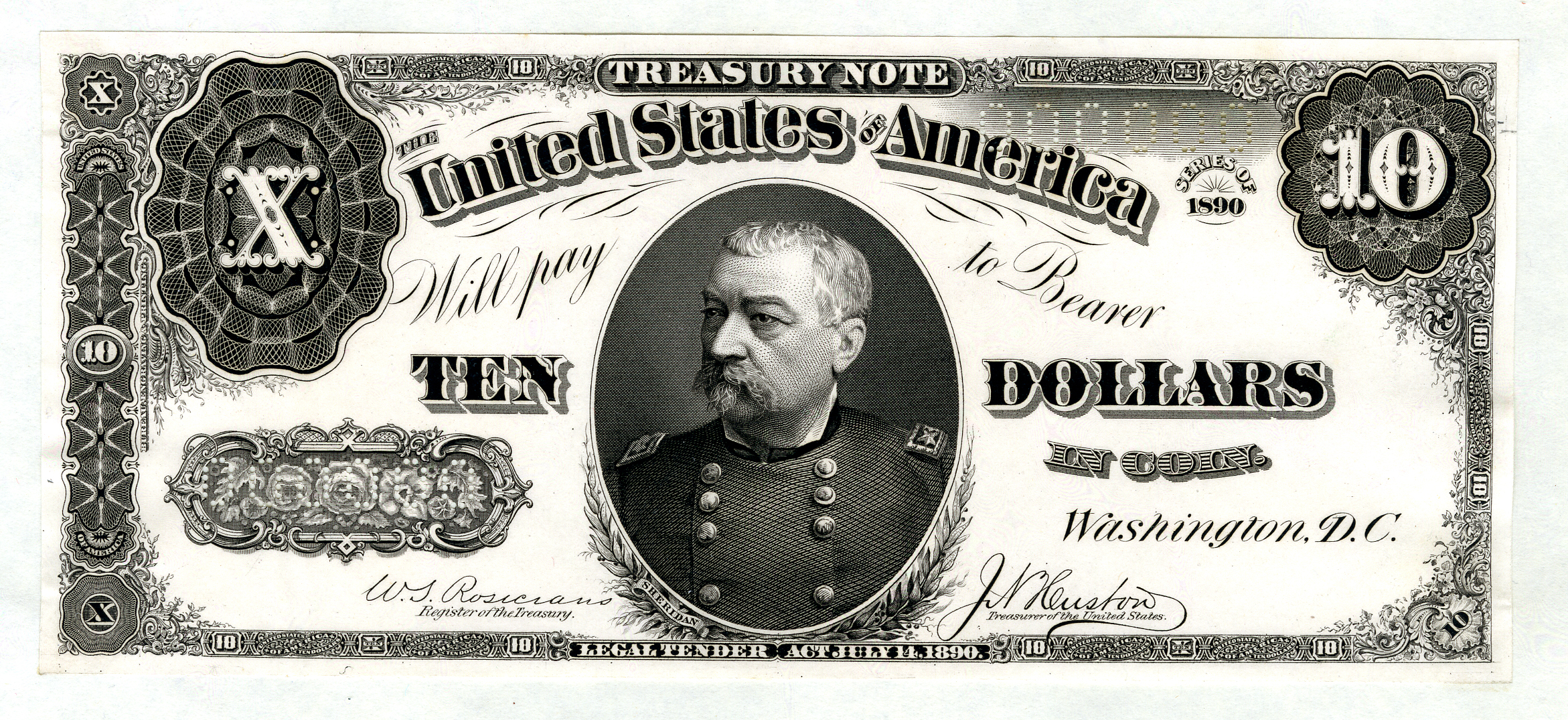 """U.S. Legal Tender Treasury Note Unique Presentation Proof, $10, Series of 1890, Fr.#366 Unlisted Proof. Washington, D.C. Unlisted, Unpublished in Hessler, Unique Proof from presentation album. Philip Henry Sheridan portrait in middle, Rosecrans 