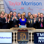 Taylor Morrison President and Chief Executive Officer Sheryl Palmer, joined by members of the Taylor Morrison management team, rings the NYSE Opening Bell(R) to celebrate the company's IPO and first day of trading on the NYSE. (Source: NYSE Euronext photo)