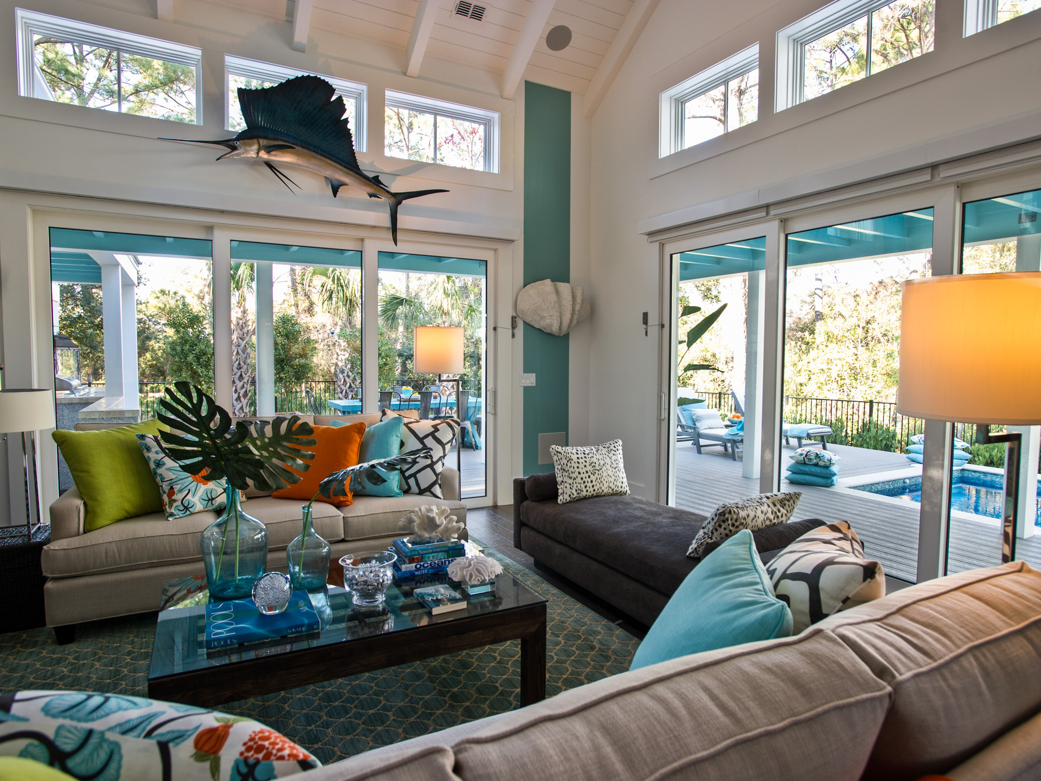 A combined-use great room boasts 12-foot ceilings and opens out to 1,000 square feet of patios, decks and water features. HGTV, HGTV Smart Home, and HGTV Smart Home Giveaway are trademarks of Scripps Networks, LLC. Used with permission; all rights reserved. Photo(c) 2013 Scripps Networks, LLC.