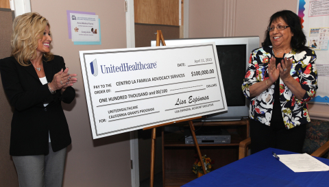 Lisa Espinosa (left), Central Valley account executive, UnitedHealthcare of California, presents a $ ...