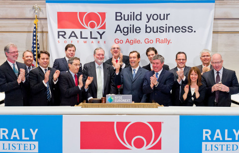 Rally Software Chief Executive Officer Tim Miller, joined by Rally's Founder and CTO Ryan Martens and other members of the company's team, rings the NYSE Opening Bell® to celebrate the company's IPO and first day of trading on the NYSE. (Source: NYSE Euronext Photo)