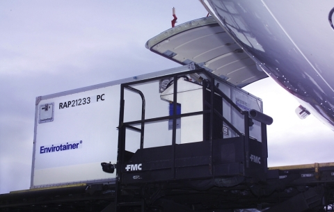 DHL Global Forwarding loading an Envirotainer temperature-controlled air freight container with Life Science and Healthcare products on an airplane (Photo: Business Wire)