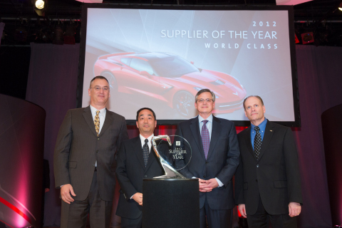 (From the left) Dave Mckean, Global Director of Interiors Engineering (GM), Seiji Oshima, President & CEO (ACP), Rob L. Morgan, Senior Vice President (ACP), Charlie Baker, Global Director of Interiors Purchasing (GM) (Photo: Business Wire)