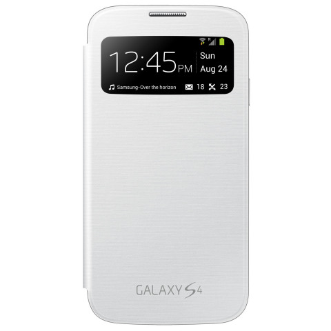 Galaxy S 4 with White S View Flip Cover (Photo: Business Wire)