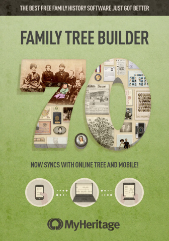 MyHeritage releases Family Tree Builder 7.0 to bring the power of the cloud to genealogy software (Graphic: Business Wire)
