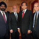 L to R: USIBC Chairman Ajay Banga, MasterCard; John Hele, MetLife; Finance Minister P Chidambaram; Ron Somers, USIBC (Photo: Jay Mandal)