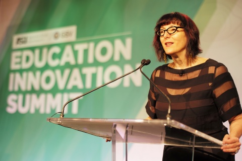 Lynda Weinman, co-founder and executive chair of lynda.com, addresses the Education Innovation Summit on Wednesday morning in Scottsdale, Ariz. lynda.com won the Return on Education Overall Award presented by Arizona State University and GSV Advisors. Photo by Bruce Heavin.