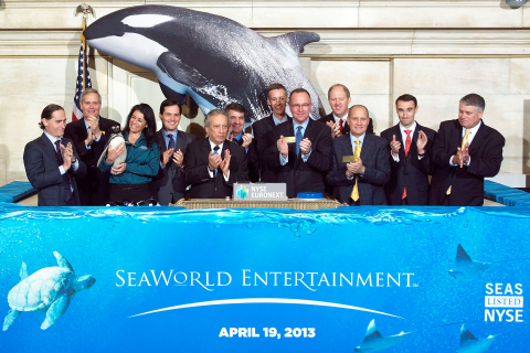 SeaWorld Entertainment Inc. CEO Jim Atchison, joined by members of the company's leadership team, rings the NYSE Opening Bell® to celebrate SeaWorld Entertainment's IPO and first day of trading on the NYSE. (Photo: Business Wire)