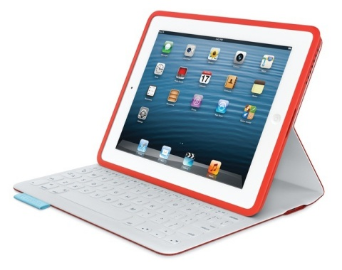 The Logitech FabricSkin Keyboard Folio features the first Bluetooth keyboard with its keys seamlessl ...