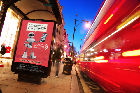 Clear Channel's Mobile Platform lets the public use their smartphones to interact with posters at thousands of bus stops across the UK (Photo: Business Wire)