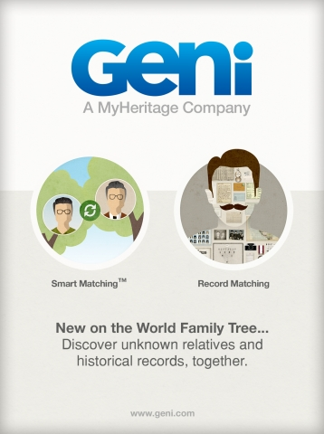 Major new features launched to help Geni.com users enrich the World Family Tree and discover unknown relatives (Graphic: Business Wire)