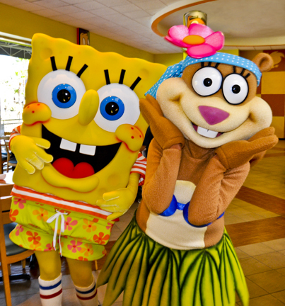 SpongeBob SquarePants and Sandy Cheeks at the Nickelodeon Suites Resort Orlando (Photo: Business Wire)