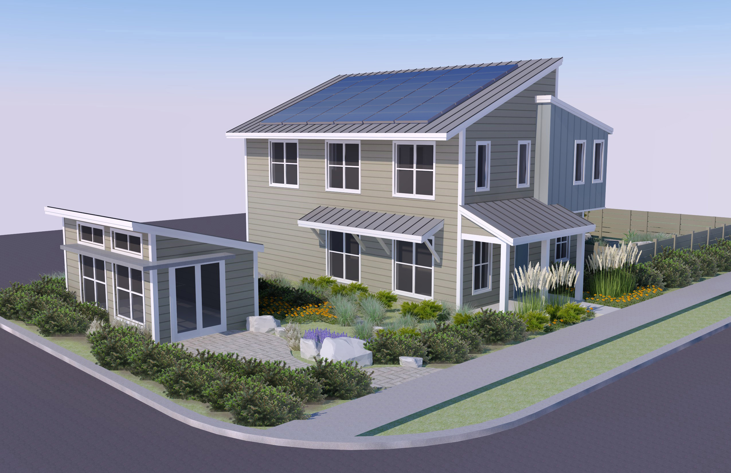 A rendering of the Honda Smart Home US, a showcase for environmental innovation and renewable energy enabling technologies that demonstrates Honda's vision for sustainable, zero-carbon living and personal mobility. (Graphic: Business Wire)