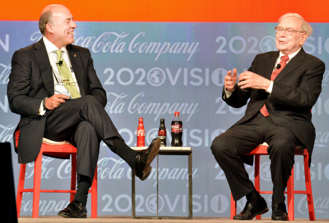 "ATLANTA, April 24, 2013 – Muhtar Kent, Chairman and CEO of The Coca-Cola Company, conducts an on-stage question-and-answer session with Berkshire Hathaway, Inc. CEO Warren Buffett during the Company's Annual Meeting of Shareowners today at the Cobb Galleria Center in Atlanta. Berkshire Hathaway is the largest shareowner of Coca-Cola. Buffett told the audience of 850 gathered at the meeting, ""we've never sold a share and I wouldn't think of selling a share"" of Coca-Cola stock. Credit: Michael Pugh/Coca-Cola"