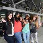 AMERICAN IDOL stars Kree Harrison, Candice Glover, Amber Holcomb and Angie Miller outside Children's Hospital Los Angeles, where the Top 4 visited patients and gave them a private concert! To donate to the hospital, go to chla.org/idol (Photo: Business Wire)