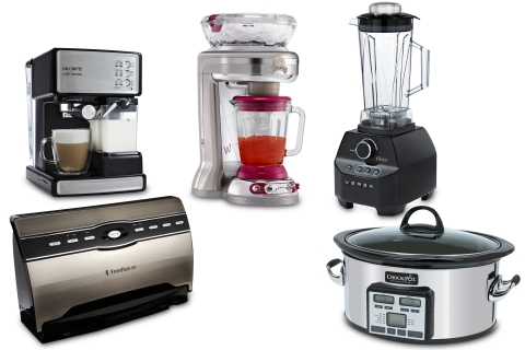 Spring 2013 ``Most Wanted Gifts'' for Moms, Dads & Grads pictured left to right: FoodSaver(R) V3880 Vacuum Sealing System, Mr. Coffee(R) Cafe' Barista, Margaritaville(R) Fiji(tm) Frozen Concoction(R) Maker, Oster(R) Versa(R) Performance Blender, Crock-Pot(R) Slow Cooker with Smart Cook(tm) Technology.  (Photo: Business Wire)