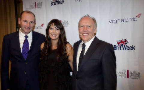 Fiona Francois, UK Trade & Investment and BritWeek Director (center) with Innovation Award judges Andy Bird, Walt Disney International Chairman (left) and Ian Callum, Design Director, Jaguar Cars (right). Not pictured judges Sir Ken Robinson, creativity guru, and Carlos Amezcua, Co-anchor KTTV Fox 11 News. (Photo: Business Wire)