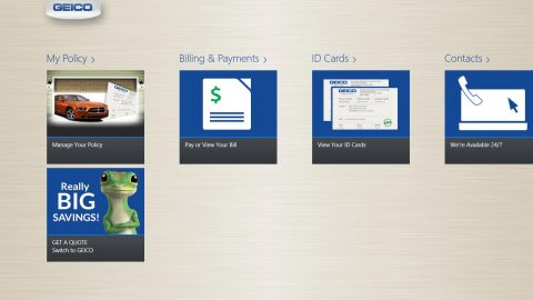 Snapshot of GEICO's App for Windows 8 (Graphic: GEICO)
