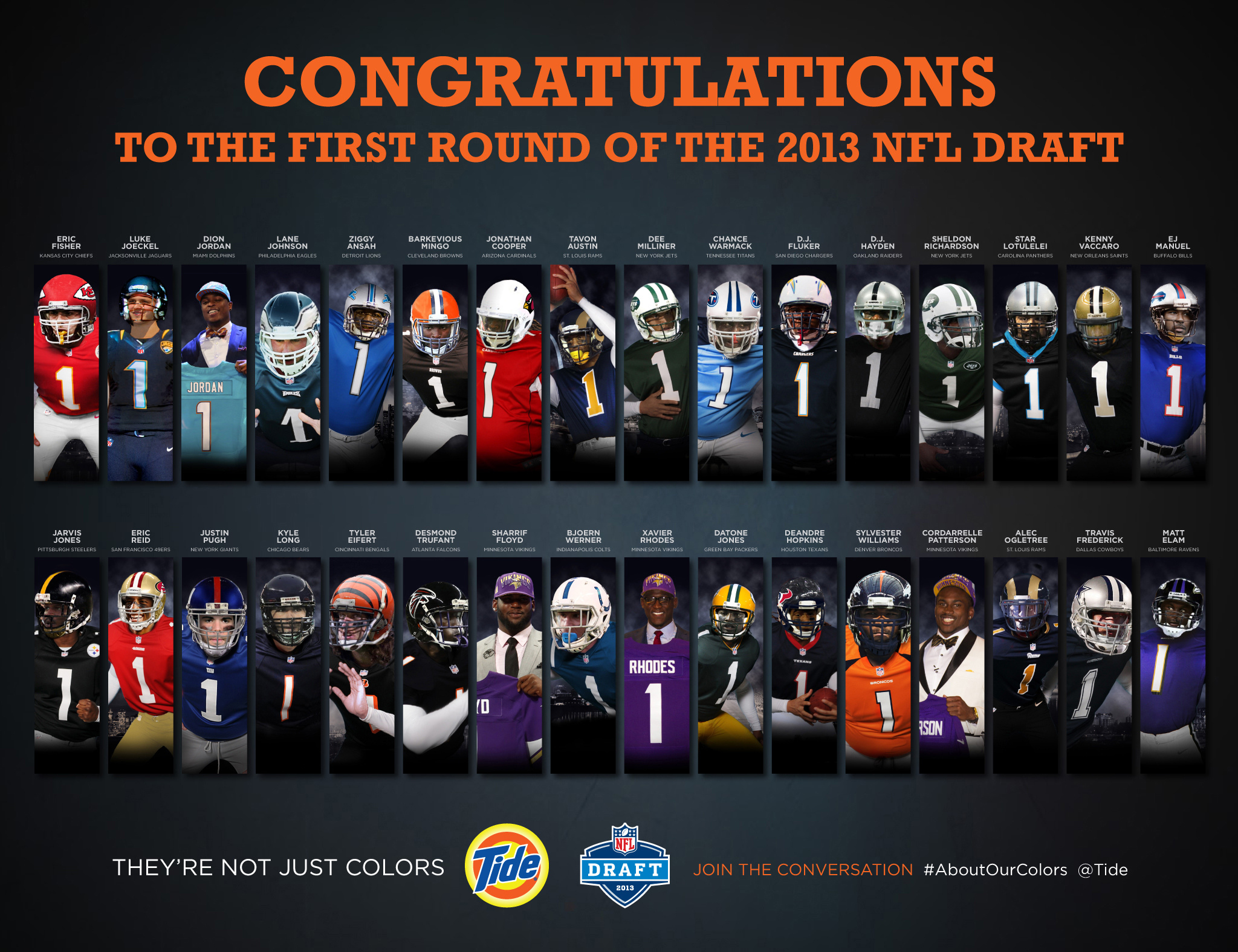 Tide, the proud keeper of your NFL team's colors, created this exclusive image of the first round picks from the 2013 NFL Draft to celebrate this exciting occasion for NFL fans. As part of the NFL Draft, Tide also created the first shareable poster of players in their new colors and delivered them via Twitter. Tide used a team of designers on Draft night to build the posters as real-time digital art. Players contracted by Tide asked fans to tweet at them about their new colors via #AboutOurColors.