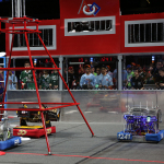 Students put their custom-built robots to the test in this year's FIRST Robotics Competition game, ULTIMATE ASCENTSM, during FIRST Championship, April 24-27, in St. Louis, Mo. Two Alliances made up of three teams each try to score as many flying discs into their goals as possible. Photo by Adriana Groisman