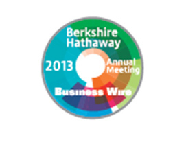 For the 2013 Berkshire Hathaway Shareholders Meeting, Business Wire has created a pin featuring the Berkshire Hathaway Shareholder Meeting name and year, and the Business Wire name. (Graphic: Business Wire)