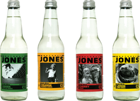 New Natural Jones Soda is available in four fruit flavors: Green Apple, Orange Mango, Cherry and Lem ...