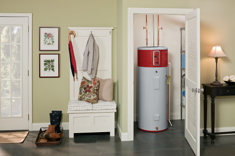 Northwest Energy Efficiency Alliance (NEEA) is working with GE Appliances to raise awareness and increase adoption of water heaters that use highly efficient heat pump technology, like GE's GeoSpring(TM) Hybrid Electric Water Heater. (Photo: GE)