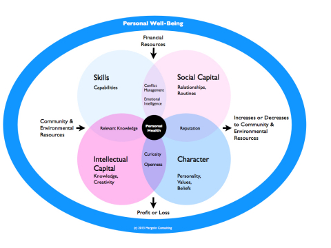 An individual's skills, assets, and choices affect the value of the larger community and natural environment, which, in turn, affects their personal security and well-being (HAPIness). (Graphic: Business Wire)