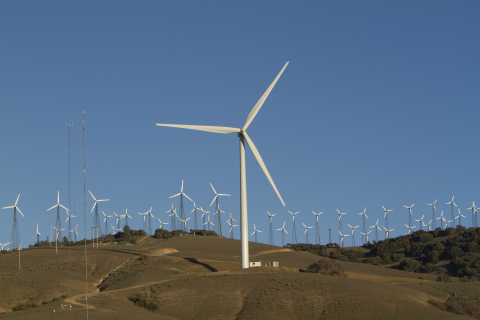 GE's testing facility with a 1.6-100 turbine in Tehachapi, California. GE is the first to incorporate short-term battery storage integrated at the turbine level. GE has combined its Durathon Battery with advanced software to help wind farm operators store excess energy—shifting the winds in their favor by increasing wind power's efficiency and short-term predictability. Photo Credit: GE