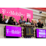 John Legere, President and CEO of T-Mobile US, Inc., (center) and employees of the combined company celebrate listing at the New York Stock Exchange after ringing the Opening Bell on May 1, 2013 in New York City. (Photo by Ben Hider/NYSE Euronext)