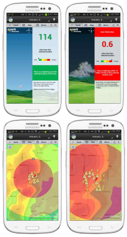 WeatherBug is the first and only app for iPhone and Android providing minute-by-minute, mile-by-mile lightning strike updates. (Graphic: Earth Networks - WeatherBug)