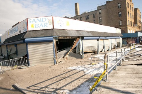 A restaurant on Beach 116th Street in the Rockaways that sustained major damage during Hurricane Sandy (photo courtesy of the NYC Department of Small Business Services).