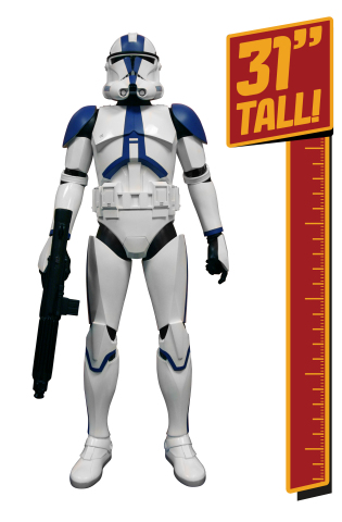 "In celebration of the upcoming Star Wars Day on May 4, JAKKS Pacific, Inc. (NASDAQ: JAKK) announced today that it has expanded its agreement with Lucasfilm to include the 501st Legion Clone Trooper in its 31"" Giant Figure lineup. Featuring seven points of articulation, highly detailed features and iconic blaster, the 31"" Giant Clone Trooper is the largest articulated collectible figure of its kind. Available later this year, the 31"" Giant Clone Trooper is appropriate for fans 3+. (Photo: Business Wire)"