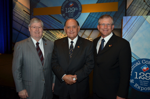 Commerce Bank President and CEO Ignacio Urrabazo was inducted May 3 as chairman of the Texas Bankers Association (TBA), the largest state banking association in the U.S. Left to right: IBC Bank Chairman Dennis E. Nixon, Urrabazo, and former TBA Chairman Mike Mauldin at ceremony in San Antonio, Texas. Photo credit: Jonathan Alonzo