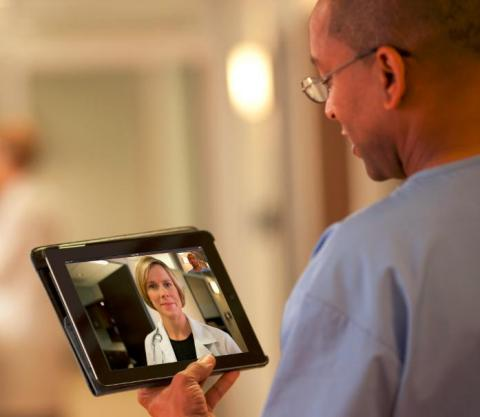 Video collaboration solutions such as Polycom RealPresence Mobile (shown here) enable healthcare org ...