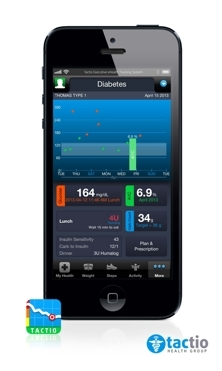 TactioHealth App with TactioDiabetes Option tracking Type 1 Diabetes with Insulin Adjustment (Photo: Business Wire)