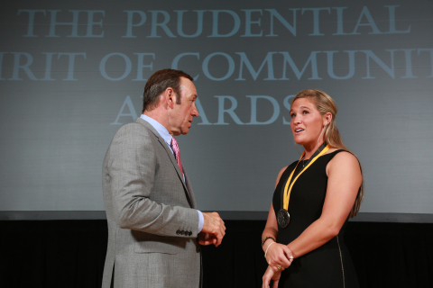 Academy Award-winning actor Kevin Spacey congratulates Sarah Sutherlin, 18, of Lake St. Louis on being named Missouri's top high school youth volunteer for 2013 by The Prudential Spirit of Community Awards. Sarah was honored at a ceremony on Sunday, May 5 at the Smithsonian's National Museum of Natural History, where she received a $1,000 award. (Photo: Business Wire)