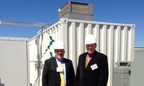 Energi CEO Brian McCarthy and SVP Kevin Kaminski in front of the Bridgeport plant. (Photo: Business Wire)