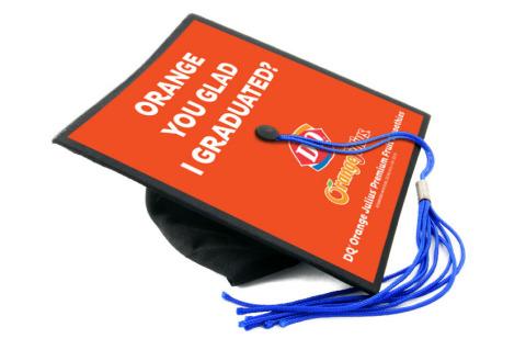 Dairy Queen(R) and Orange Julius(R) custom designed graphic for graduate's mortarboard (Photo: Busi ...