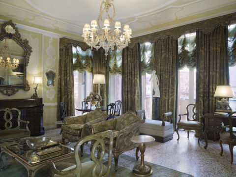 The Hemingway Suite living room at The Gritti Palace, overlooking the Grand Canal. (Photo: Business ...