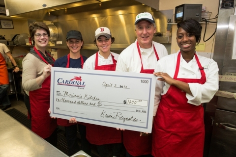 (L-R): Miriam's Kitchen Chief Development and Communications Officer Sara Gibson; Chairman of the Board of Directors Nicole Levine; Assistant Director, Kitchen Operations Chef Emily Hagel; Cardinal Bank President F. Kevin Reynolds and Cardinal Trust & Investments Portfolio Analyst Stacey Shaw. (Photo: David Galen, Galen Photography)
