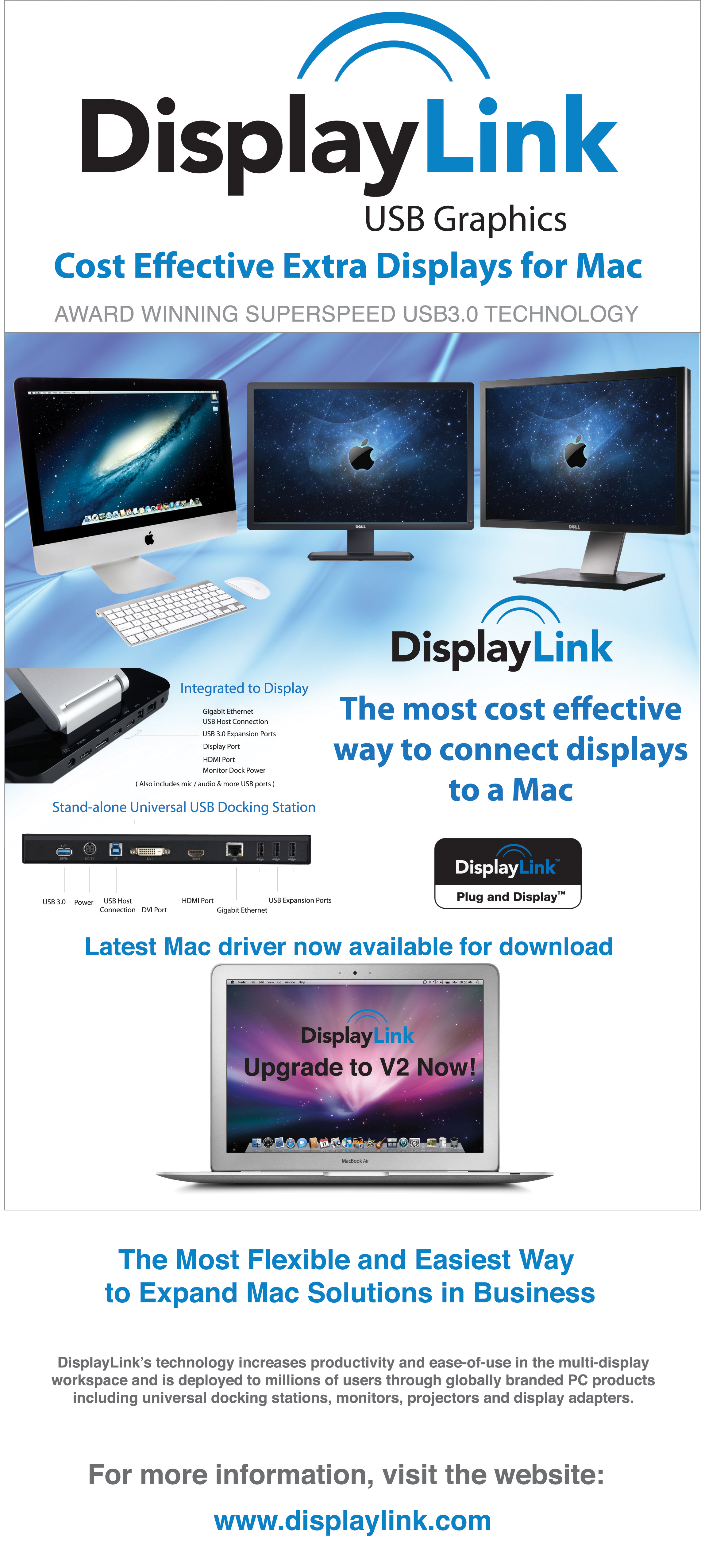 DisplayLink Launches New MAC OSX Driver for USB Docking