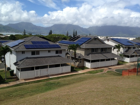 Solar arrays atop military housing at Marine Corps Base Hawaii, part of SolarCity/Forest City projec ...