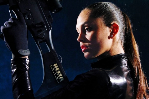 Model holding Delta Six gaming gun launches on Kickstarter crowd funding site today. (Photo: Business Wire)